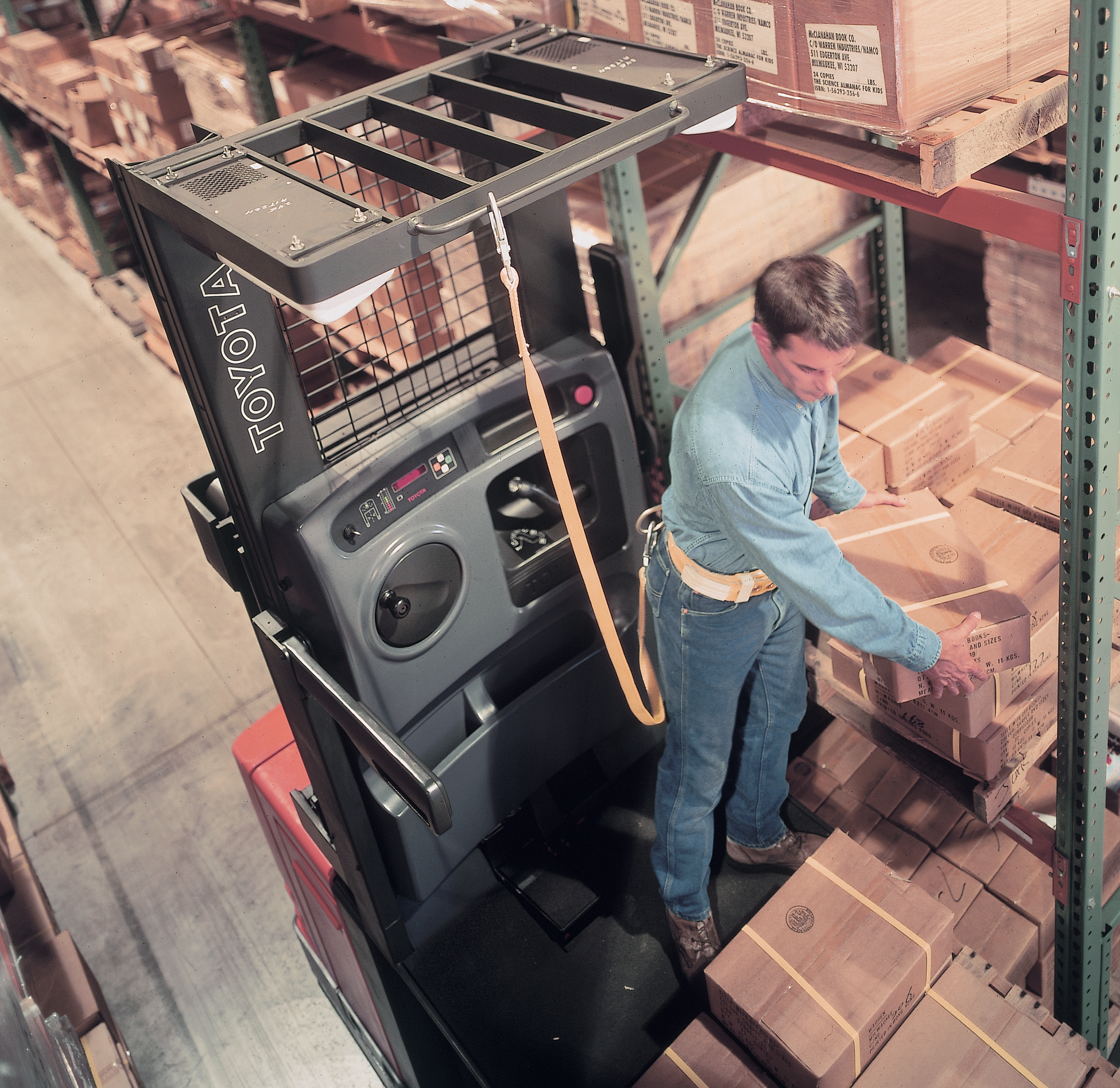 Toyota's 7-Series Order Picker forklift in action