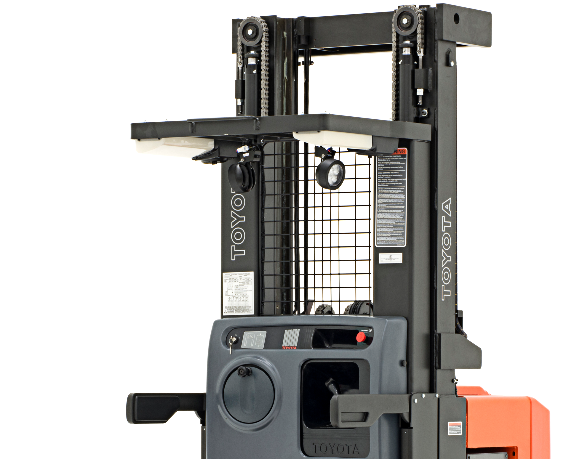 Close-up image of Toyota's 7-Series Order Picker forklift