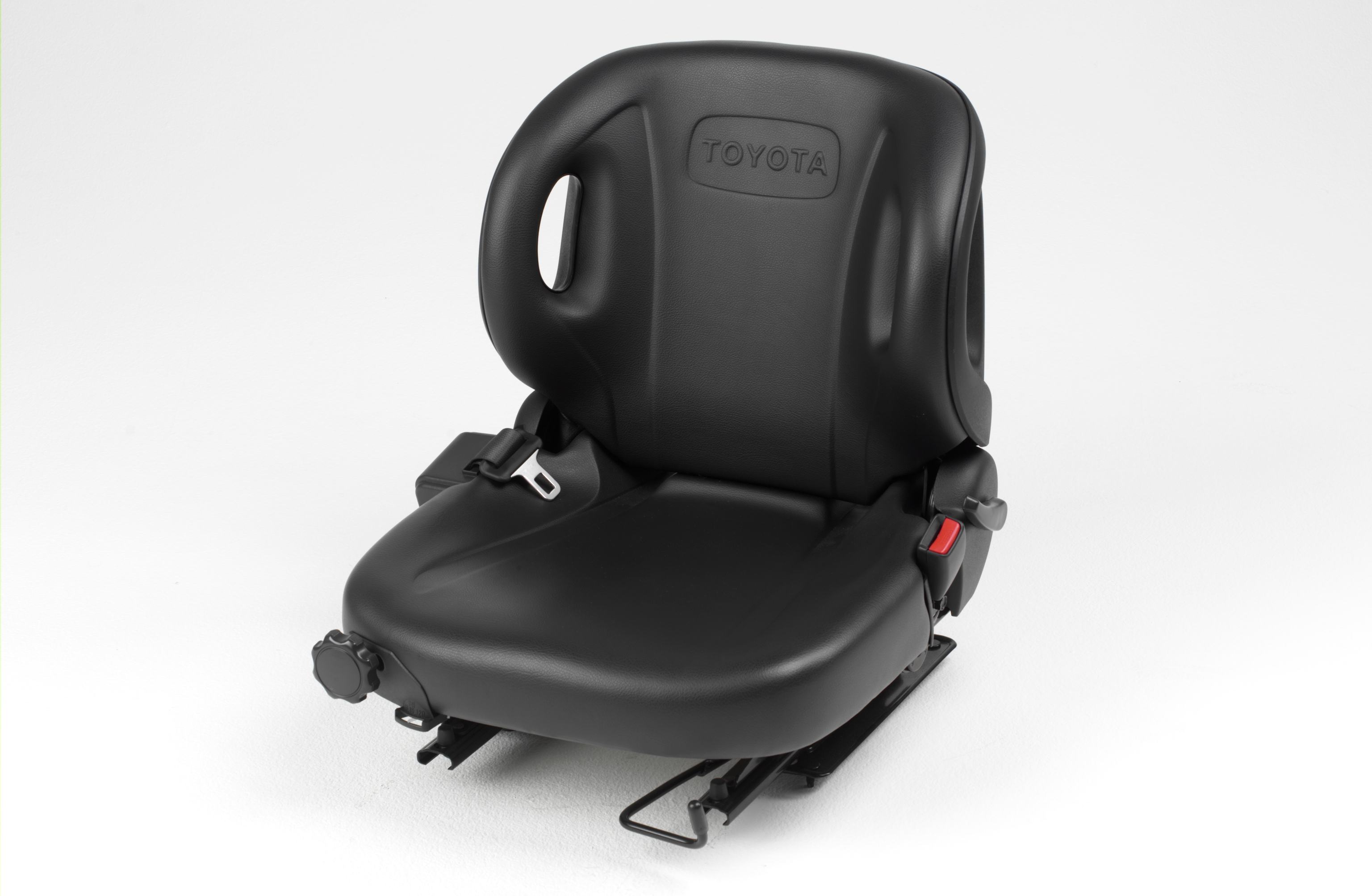 Close up photo of forklift chair for Toyota's electric pneumatic model.