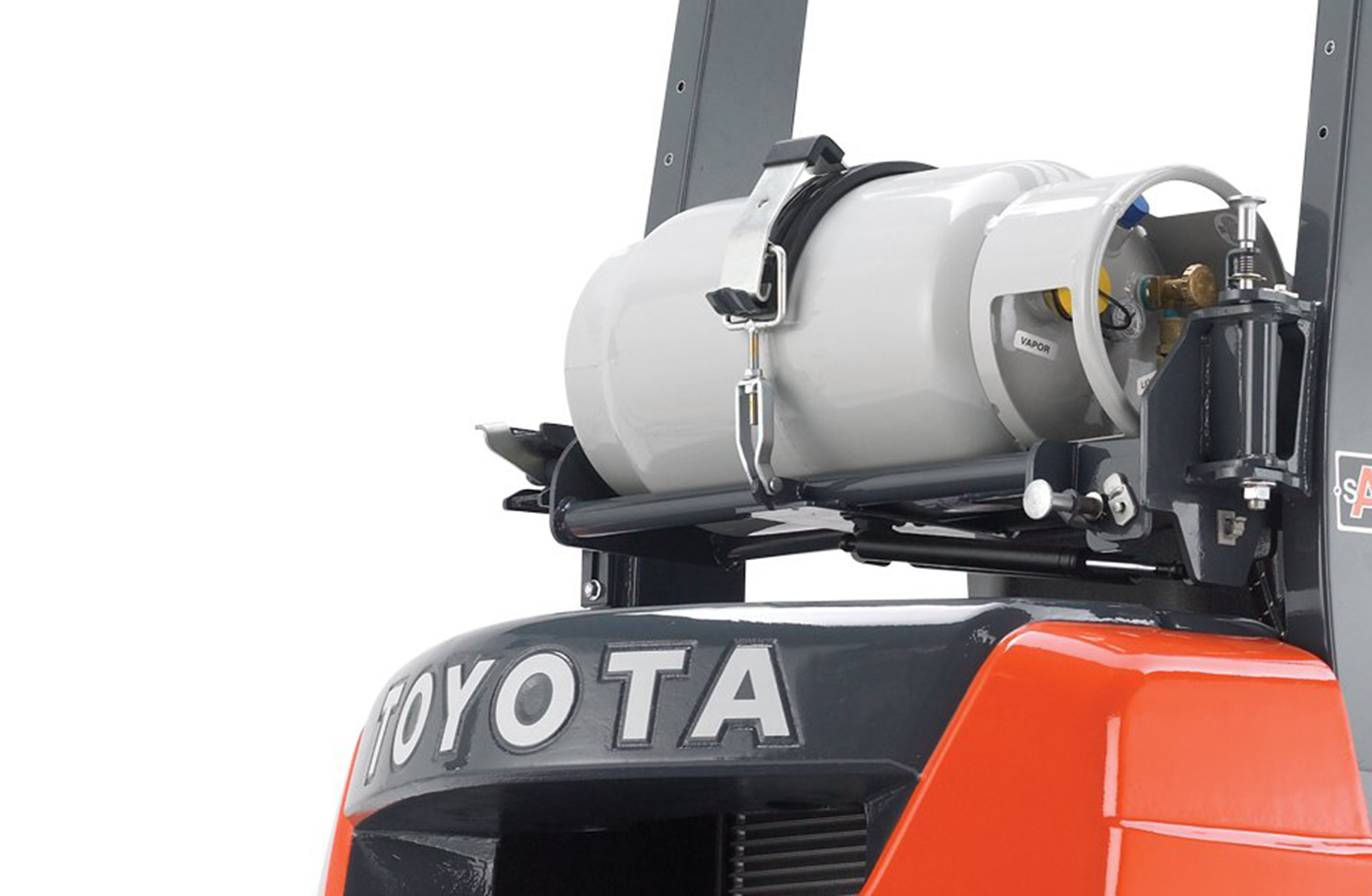 Close-up image of the rear side of Toyota's Core Pneumatic forklift.