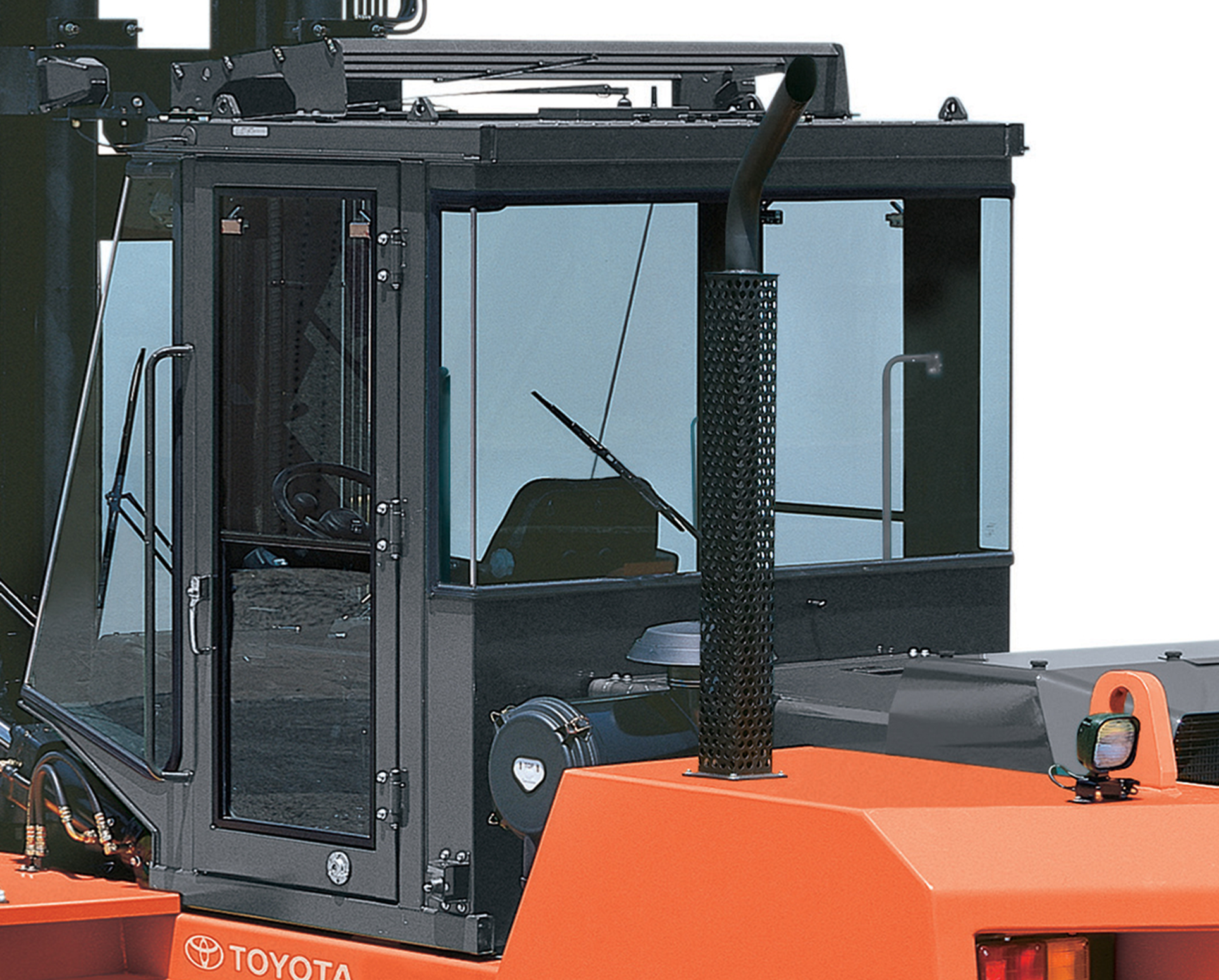 Close-up of enclosed cab for Toyota's High-Capacity IC Pneumatic forklift.