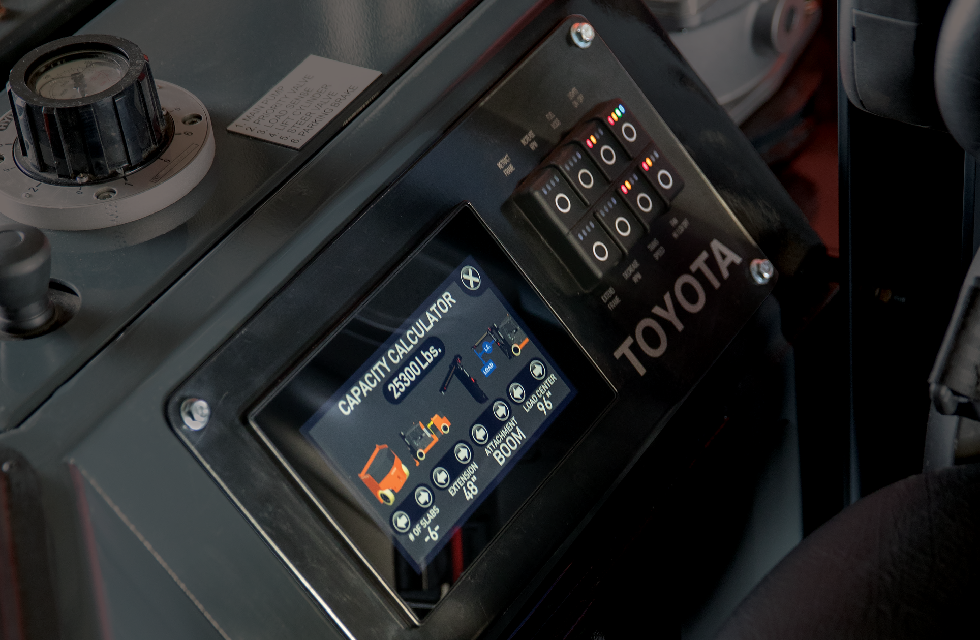 Electronic display for Toyota's High-Capacity Adjustable Wheelbase forklift.