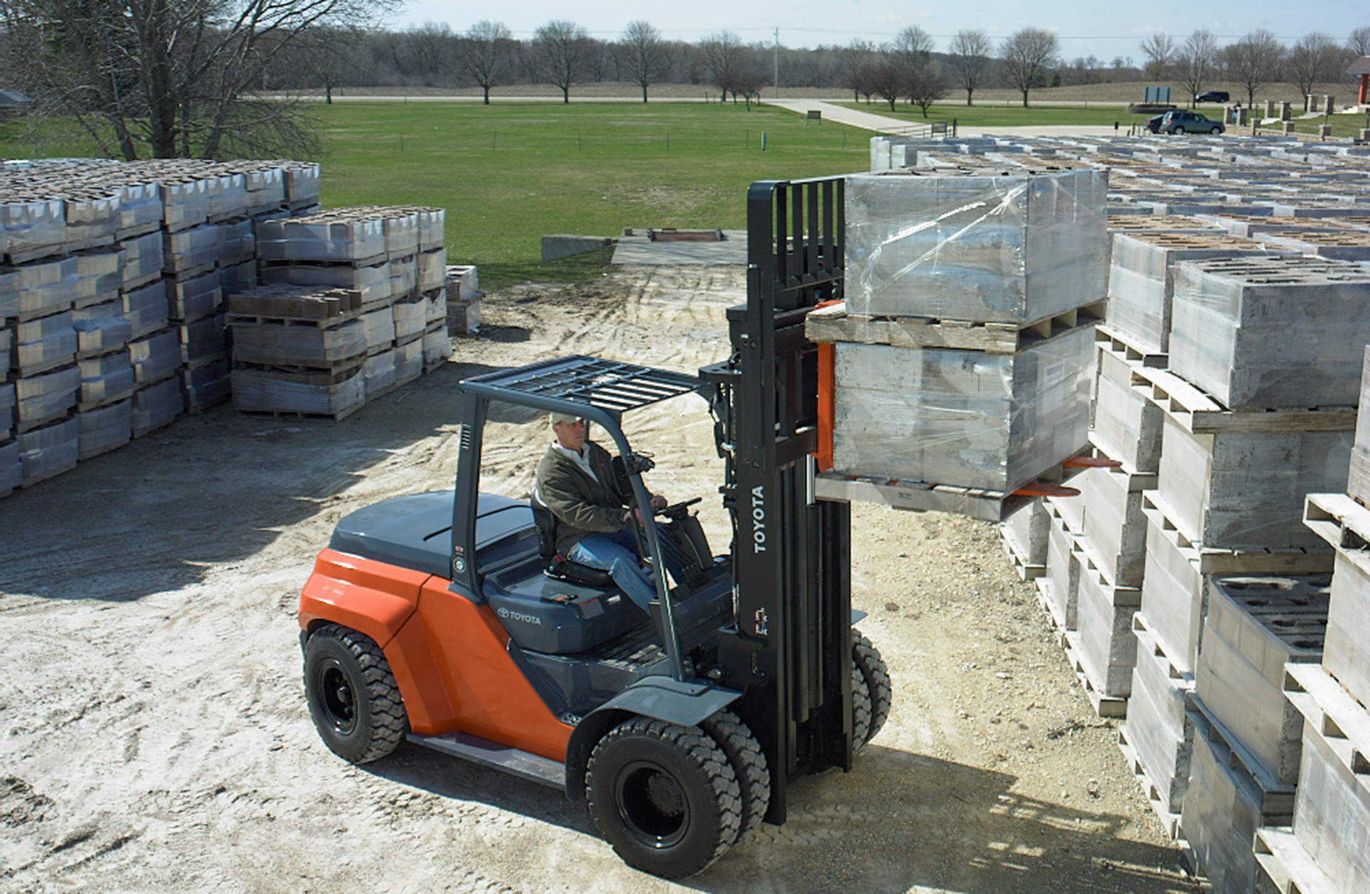 Toyota's Large IC Pneumatic forklift for moving heavy loads outdoors.