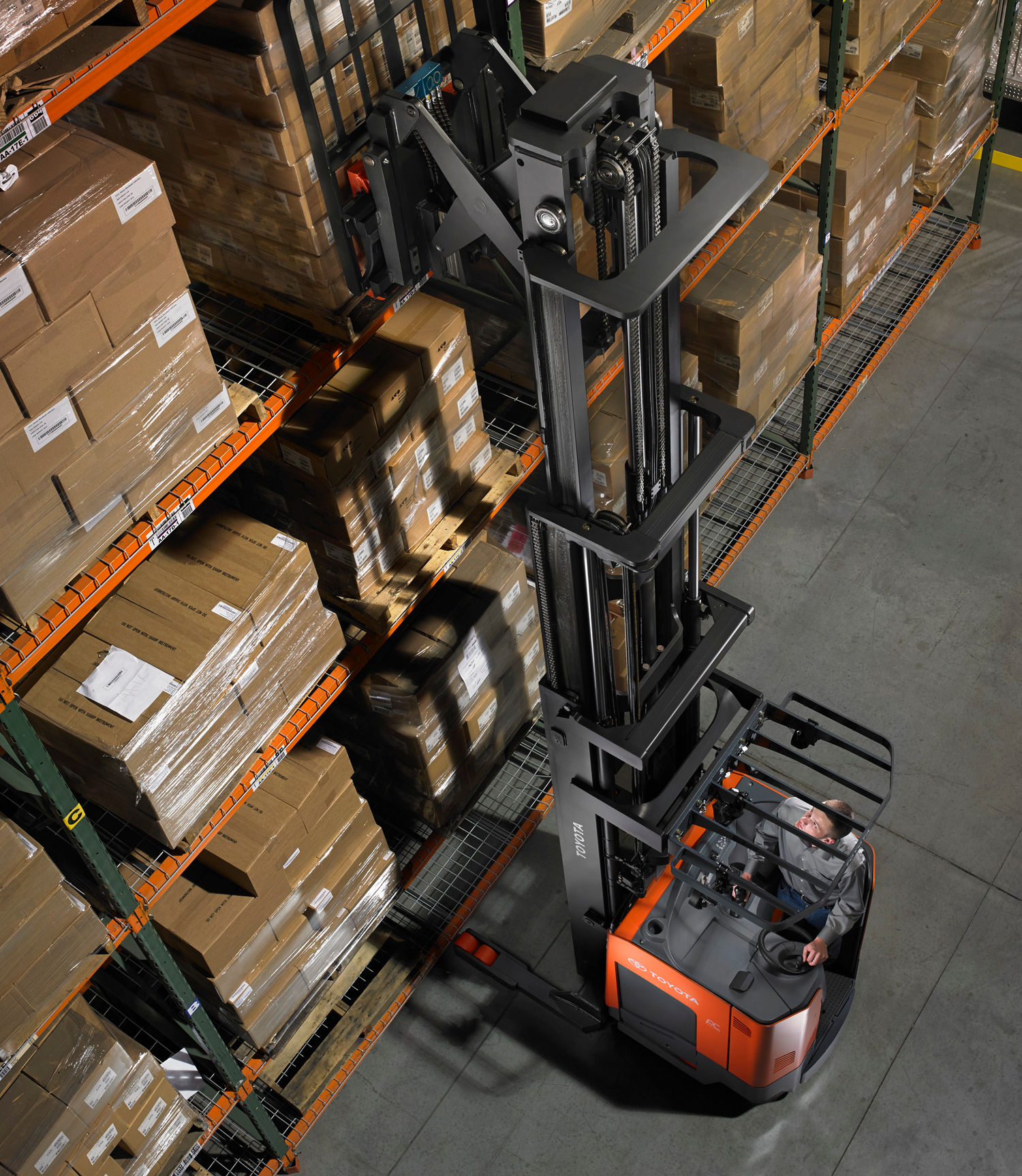 Toyota's Reach Truck forklift in use on the warehouse floor.