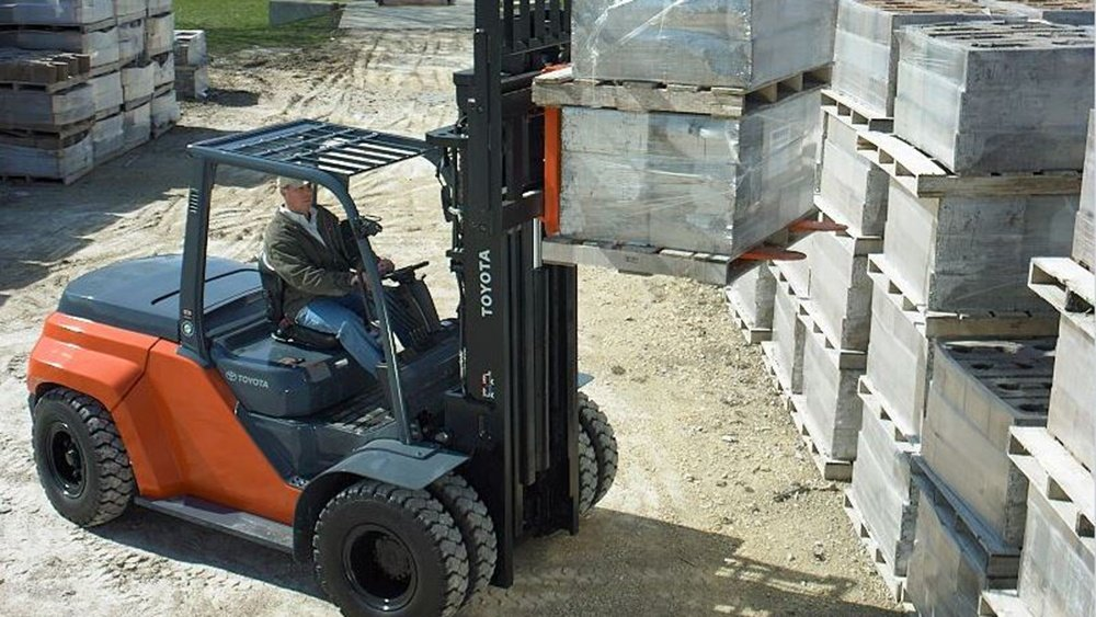 Forklift for Moving Concrete Stone