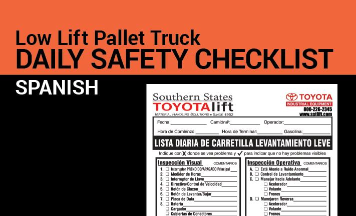 Low lift pallet truck safety checklist